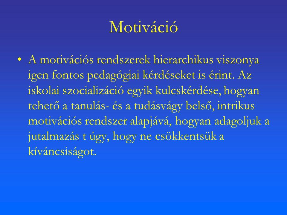 Motiváció A motivációs rendszerek hierarchikus viszonya igen fontos pedagógiai kérdéseket is érint. Az iskolai szocializáció egyik kulcskérdése, hogya