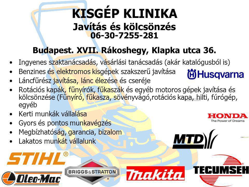 KISGÉP KLINIKA Javítás és kölcsönzés 06-30-7255-281 Budapest.
