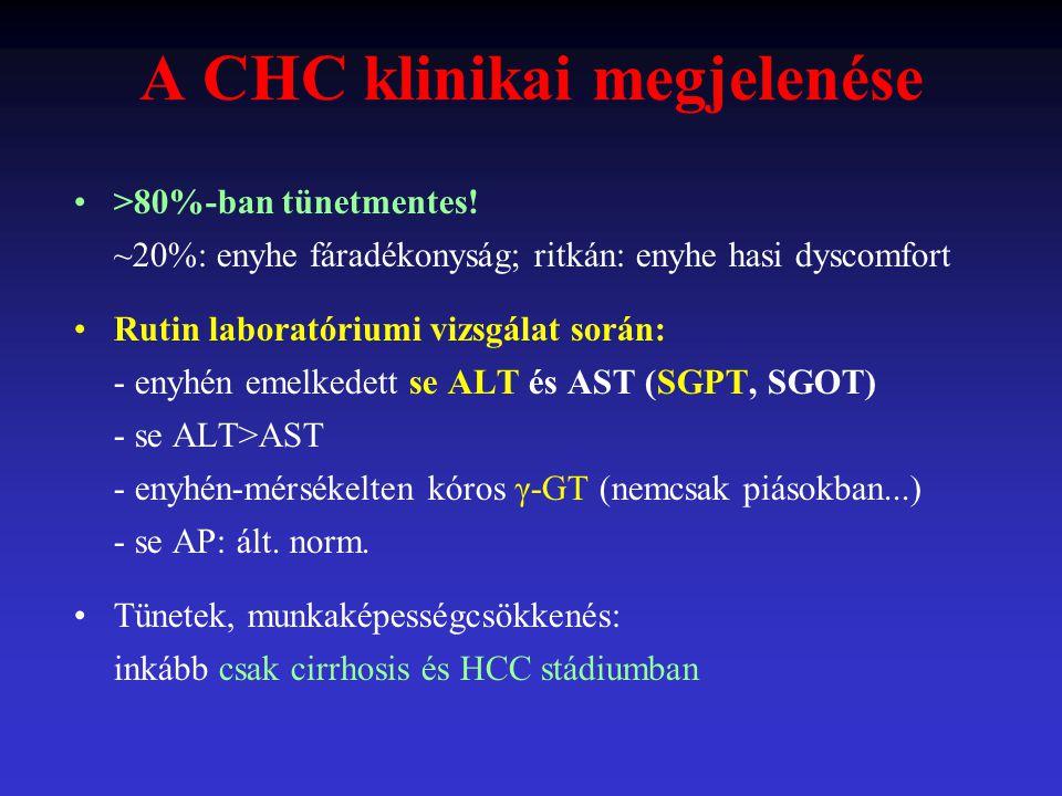 A CHC klinikai megjelenése >80%-ban tünetmentes! ~20%: enyhe fáradékonyság; ritkán: enyhe hasi dyscomfort Rutin laboratóriumi vizsgálat során: - enyhé