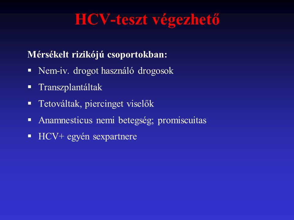 HCV-teszt végezhető Mérsékelt rizikójú csoportokban:  Nem-iv. drogot használó drogosok  Transzplantáltak  Tetováltak, piercinget viselők  Anamnest