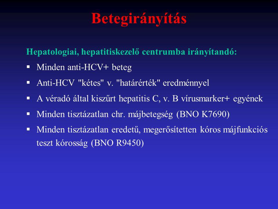 Betegirányítás Hepatologiai, hepatitiskezelő centrumba irányítandó:  Minden anti-HCV+ beteg  Anti-HCV
