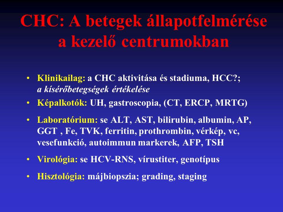 CHC: A betegek állapotfelmérése a kezelő centrumokban Klinikailag: a CHC aktivitása és stadiuma, HCC?; a kísérőbetegségek értékelése Képalkotók: UH, g