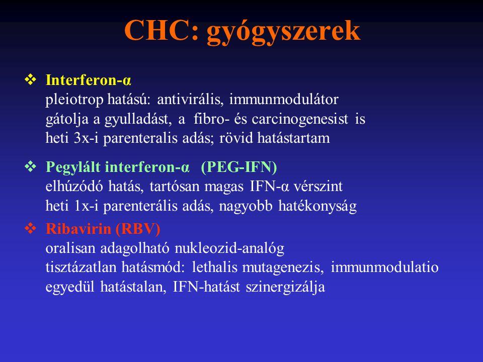 CHC: gyógyszerek  Interferon-α pleiotrop hatású: antivirális, immunmodulátor gátolja a gyulladást, a fibro- és carcinogenesist is heti 3x-i parentera