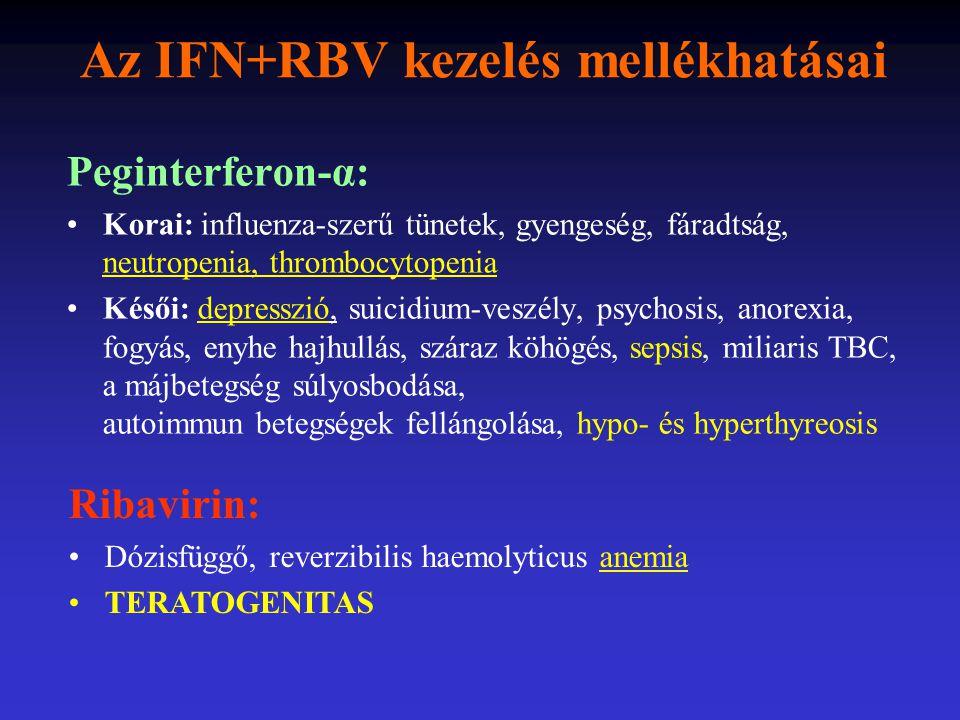 Az IFN+RBV kezelés mellékhatásai Peginterferon-α: Korai: influenza-szerű tünetek, gyengeség, fáradtság, neutropenia, thrombocytopenia Késői: depresszi