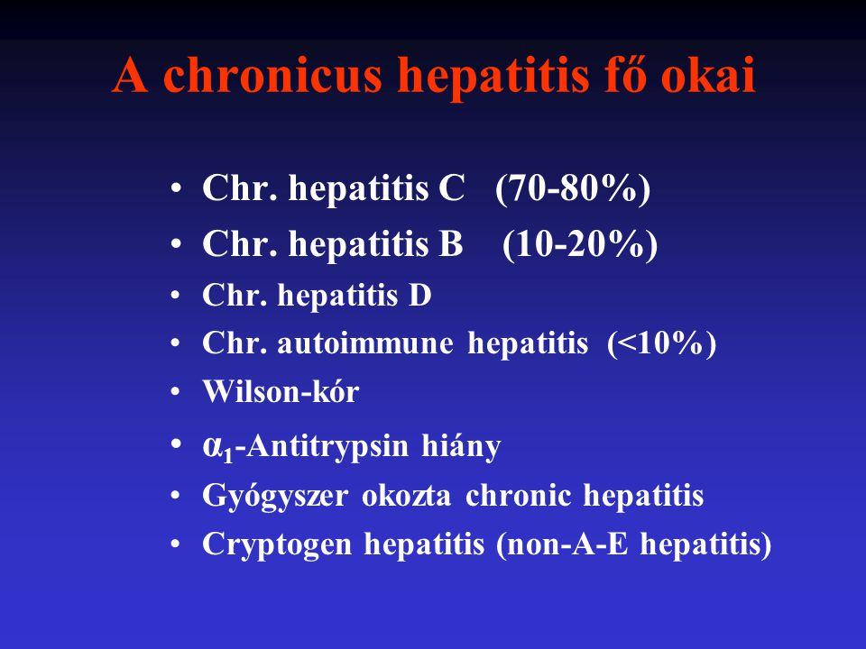 Chronicus hepatitis enyhe közepes súlyos fibrosis Májcirrhosis Végstádium májbetegség HCC A májbetegség progressziója CHC- ben 0 10 20 30 40 év Az infectio után eltelt idő