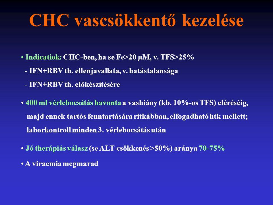 CHC vascsökkentő kezelése Indicatiok: CHC-ben, ha se Fe>20 µM, v. TFS>25% - IFN+RBV th. ellenjavallata, v. hatástalansága - IFN+RBV th. előkészítésére
