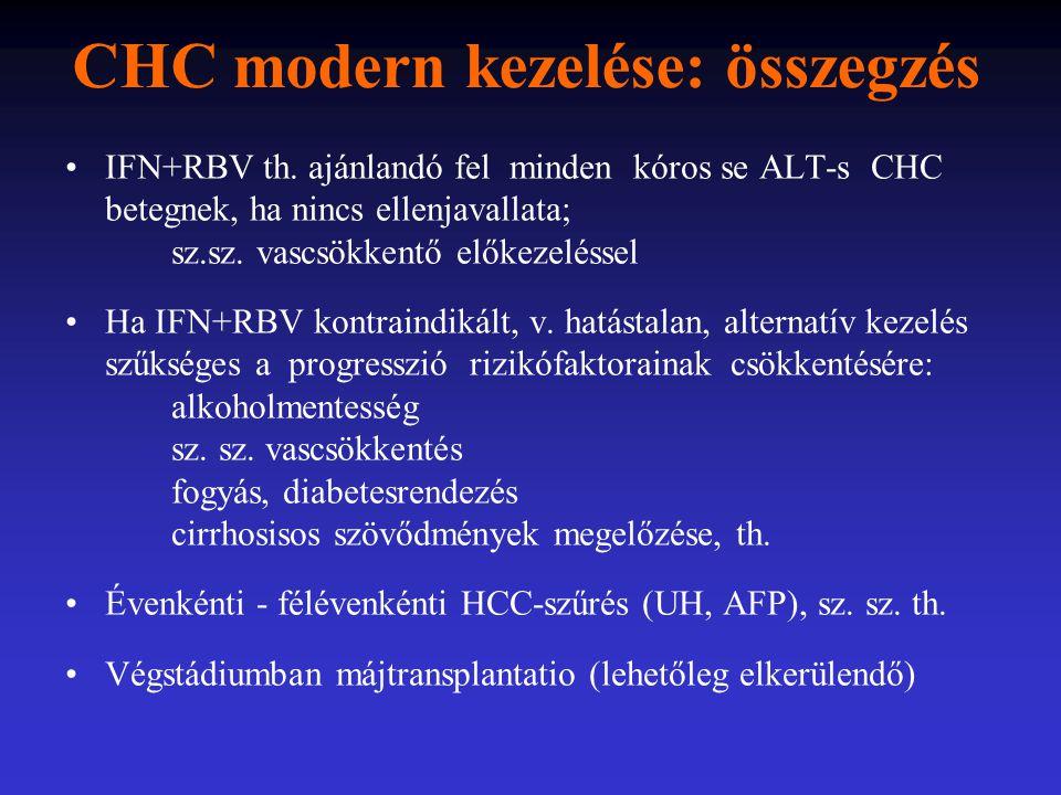 CHC modern kezelése: összegzés IFN+RBV th. ajánlandó fel minden kóros se ALT-s CHC betegnek, ha nincs ellenjavallata; sz.sz. vascsökkentő előkezelésse