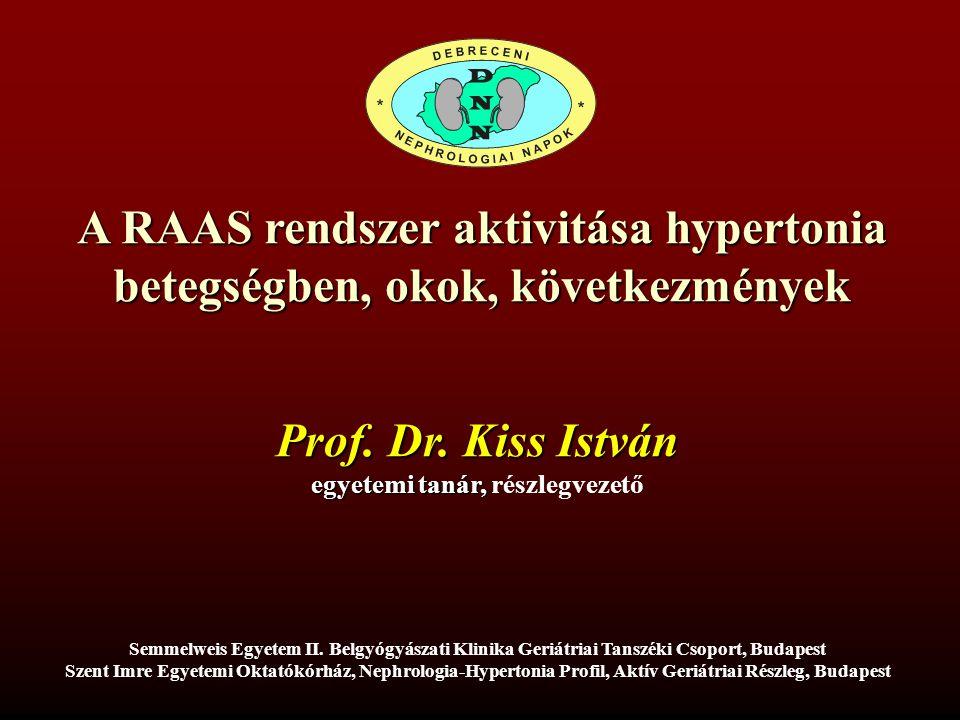 A RAAS rendszer aktivitása hypertonia betegségben, okok, következmények Semmelweis Egyetem II.