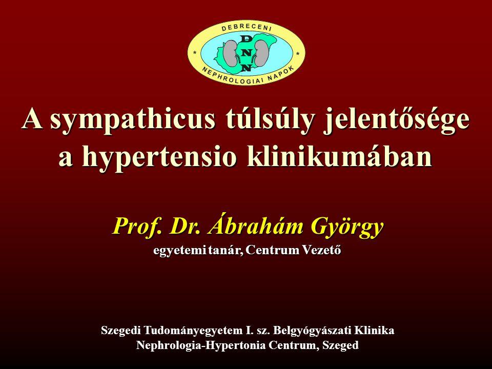 A sympathicus túlsúly jelentősége a hypertensio klinikumában Prof.