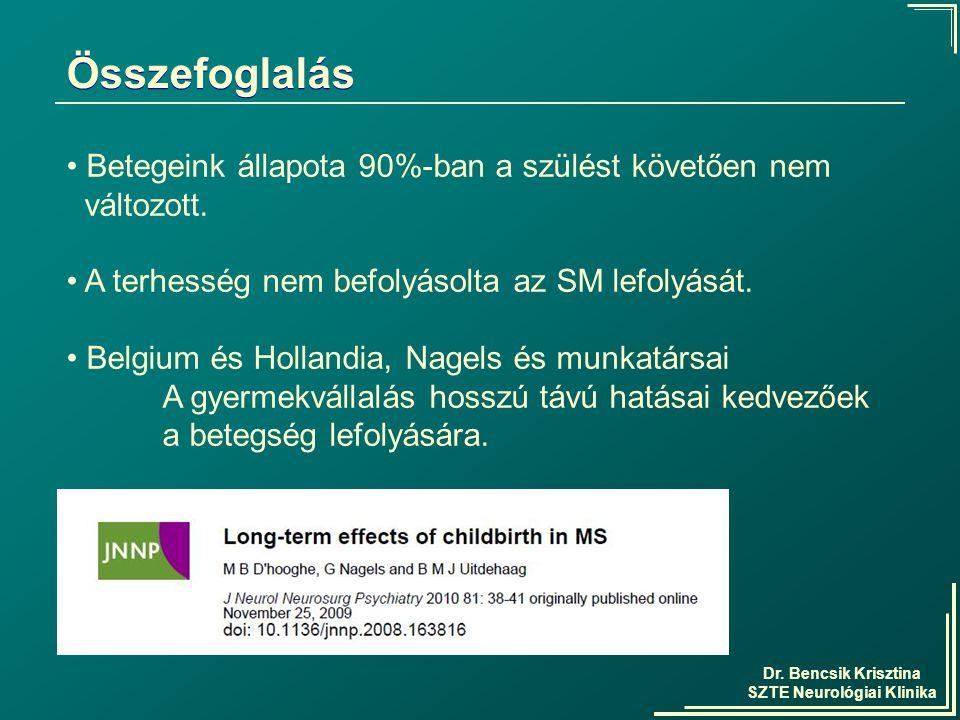 Dr. Bencsik Krisztina SZTE Neurológiai Klinika Összefoglalás Betegeink állapota 90%-ban a szülést követően nem változott. A terhesség nem befolyásolta