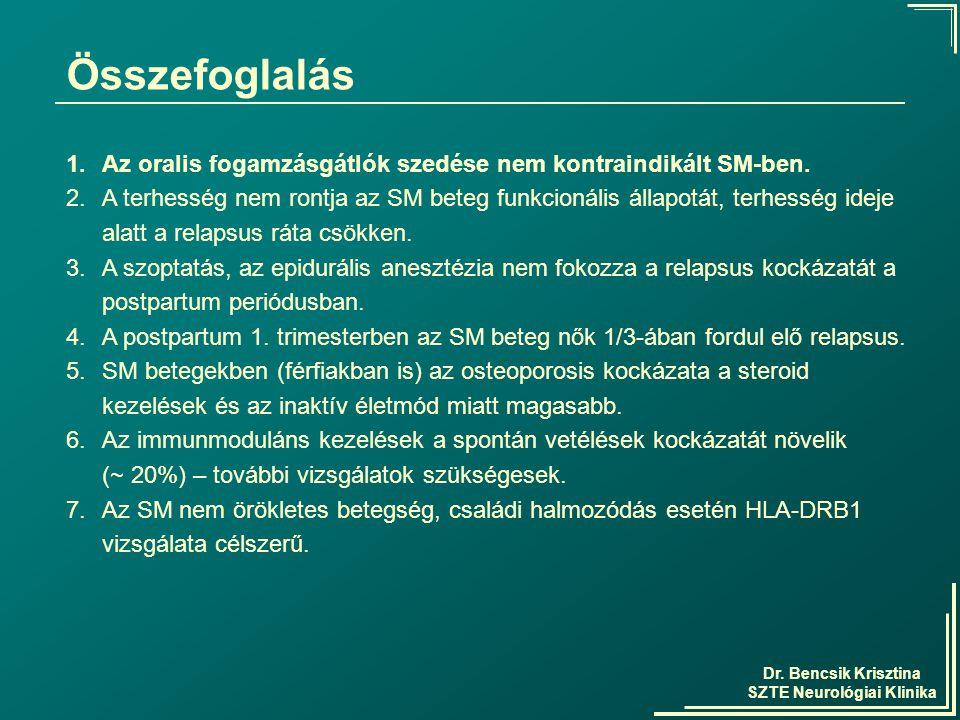 Dr. Bencsik Krisztina SZTE Neurológiai Klinika Összefoglalás 1.Az oralis fogamzásgátlók szedése nem kontraindikált SM-ben. 2.A terhesség nem rontja az