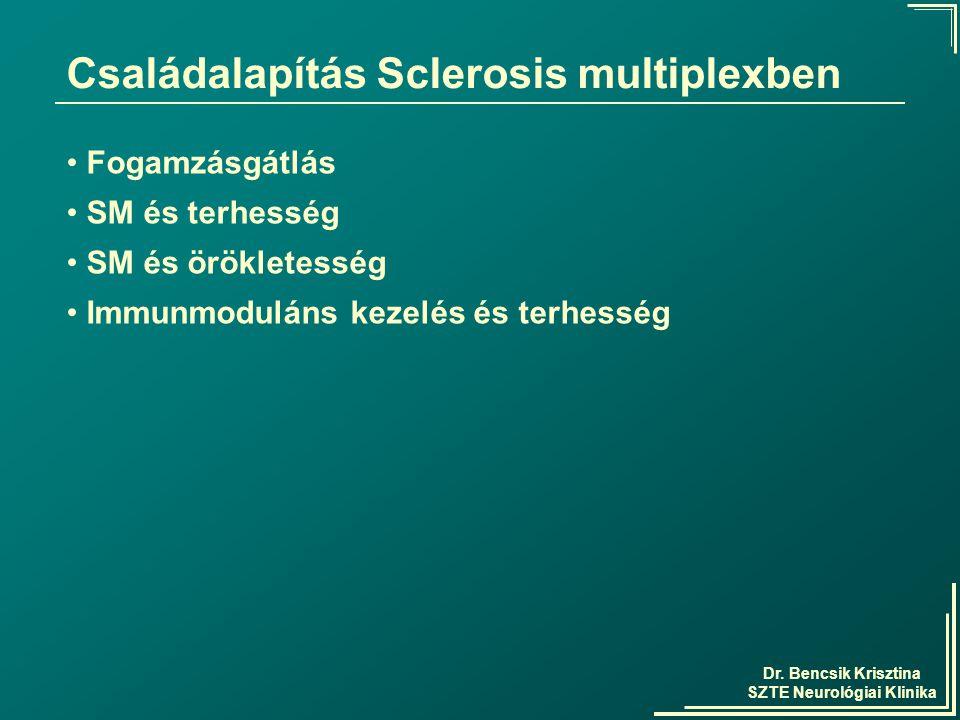 Dr. Bencsik Krisztina SZTE Neurológiai Klinika Családalapítás Sclerosis multiplexben Fogamzásgátlás SM és terhesség SM és örökletesség Immunmoduláns k
