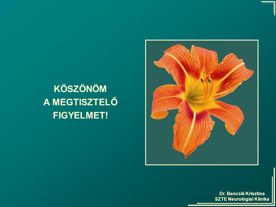 Dr. Bencsik Krisztina SZTE Neurológiai Klinika KÖSZÖNÖM A MEGTISZTELŐ FIGYELMET!