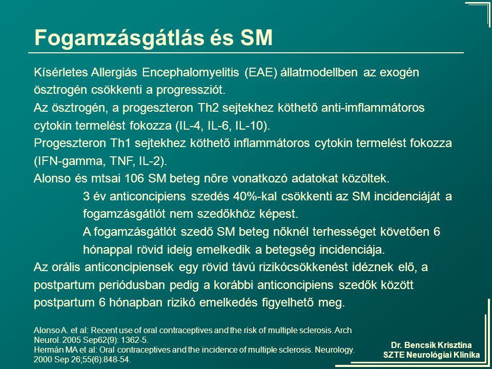 Dr. Bencsik Krisztina SZTE Neurológiai Klinika Fogamzásgátlás és SM Kísérletes Allergiás Encephalomyelitis (EAE) állatmodellben az exogén ösztrogén cs