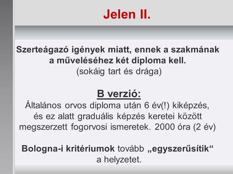 Jelen II.Szerteágazó igények miatt, ennek a szakmának a műveléséhez két diploma kell.