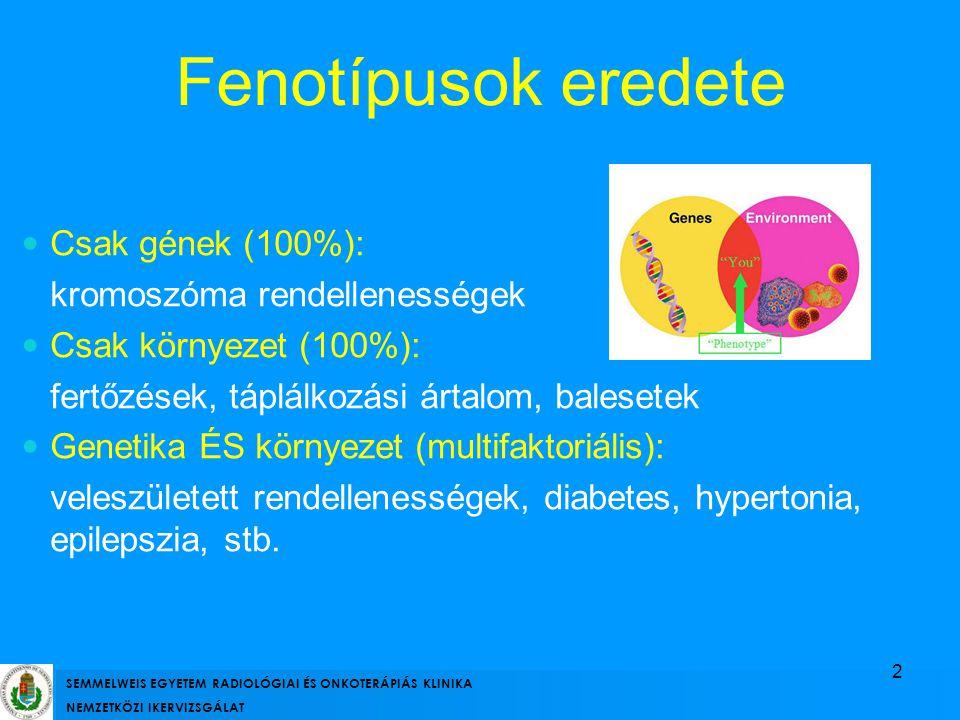 Csak gének (100%): kromoszóma rendellenességek Csak környezet (100%): fertőzések, táplálkozási ártalom, balesetek Genetika ÉS környezet (multifaktoriá