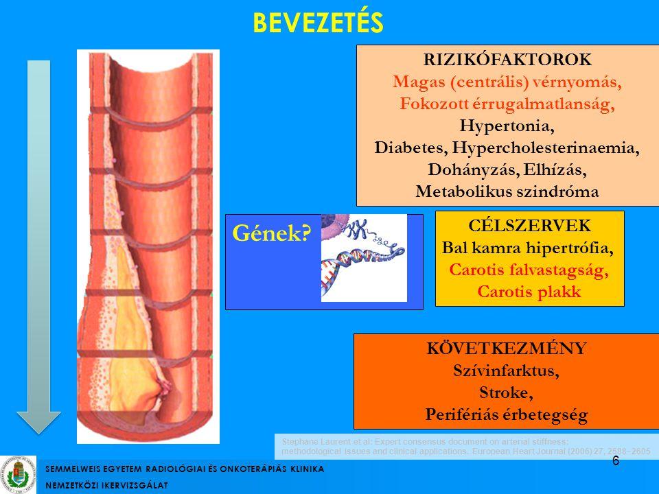 RIZIKÓFAKTOROK Magas (centrális) vérnyomás, Fokozott érrugalmatlanság, Hypertonia, Diabetes, Hypercholesterinaemia, Dohányzás, Elhízás, Metabolikus sz