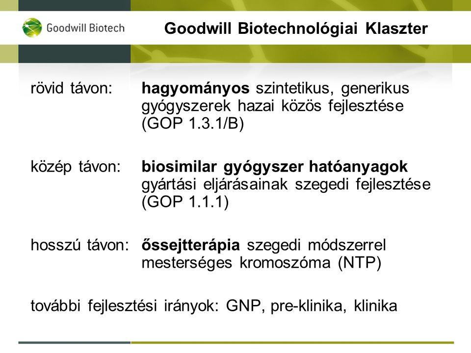 Goodwill Biotechnológiai Klaszter rövid távon:hagyományos szintetikus, generikus gyógyszerek hazai közös fejlesztése (GOP 1.3.1/B) közép távon:biosimilar gyógyszer hatóanyagok gyártási eljárásainak szegedi fejlesztése (GOP 1.1.1) hosszú távon:őssejtterápia szegedi módszerrel mesterséges kromoszóma (NTP) további fejlesztési irányok: GNP, pre-klinika, klinika