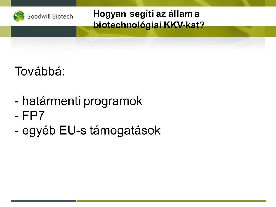 Továbbá: - határmenti programok - FP7 - egyéb EU-s támogatások Hogyan segíti az állam a biotechnológiai KKV-kat?