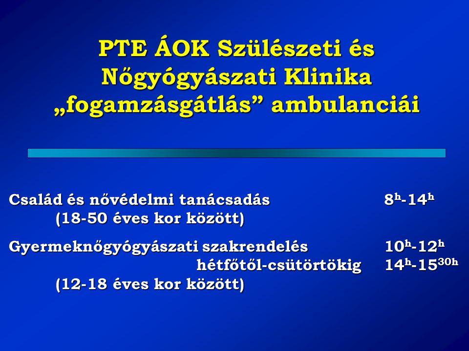 """PTE ÁOK Szülészeti és Nőgyógyászati Klinika """"fogamzásgátlás"""" ambulanciái Család és nővédelmi tanácsadás8 h -14 h (18-50 éves kor között) Gyermeknőgyóg"""