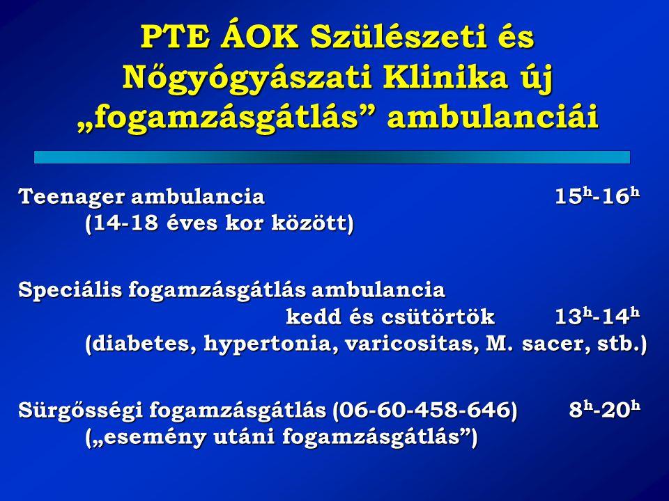 Teenager ambulancia15 h -16 h (14-18 éves kor között) Speciális fogamzásgátlás ambulancia kedd és csütörtök13 h -14 h (diabetes, hypertonia, varicosit