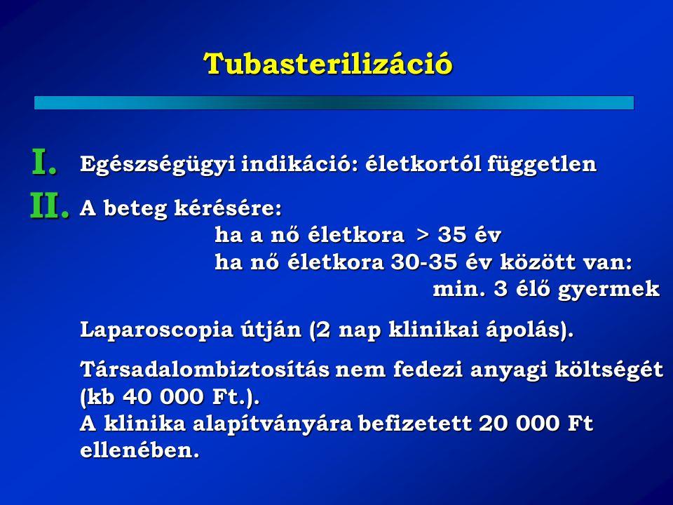 Tubasterilizáció A beteg kérésére: ha a nő életkora > 35 év ha nő életkora 30-35 év között van: min. 3 élő gyermek Laparoscopia útján (2 nap klinikai