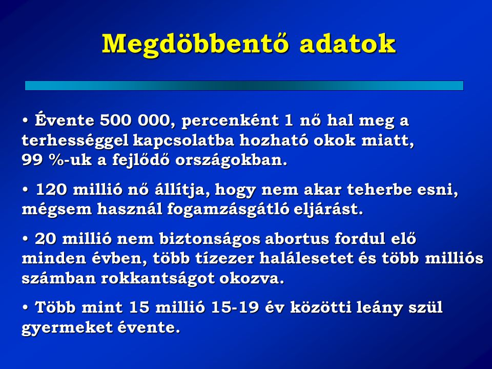 Megdöbbentő adatok 100 millió coitus / nap 910 000 fogamzás / nap 98 millió szülés /év 50 millió terhességmegszakítás / év 9 millió terhességmegszakítás / év Európában 500 000 anyai halál / év terhesség kapcsán 200 000 anyai halál / év terhességmegszakítás miatt 500 anyai halál /nap terhességmegszakítás miatt 7-8 percenként egy anyai halál terhességmegszakítás miatt ( Rabe R, Runnebaum B: (Eds) Fertility Control: Update and Trends.