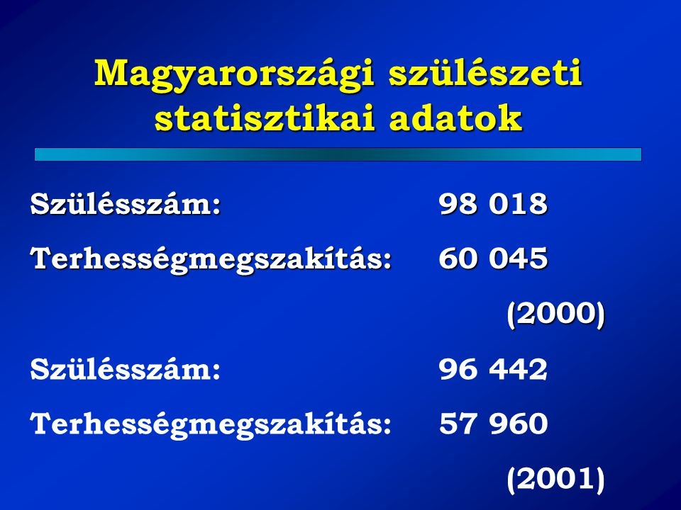 Magyarországi szülészeti statisztikai adatok Szülésszám:98 018 Terhességmegszakítás:60 045 (2000) Szülésszám:96 442 Terhességmegszakítás:57 960 (2001)