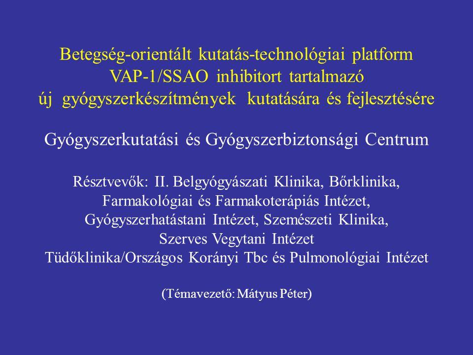 Betegség-orientált kutatás-technológiai platform VAP-1/SSAO inhibitort tartalmazó új gyógyszerkészítmények kutatására és fejlesztésére Gyógyszerkutatá