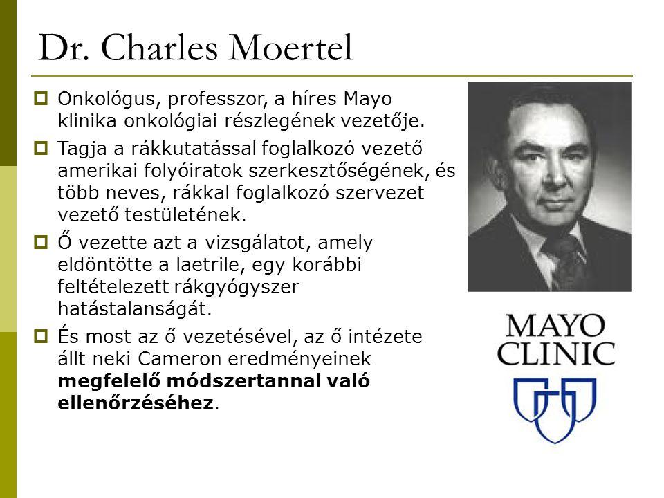 Dr. Charles Moertel  Onkológus, professzor, a híres Mayo klinika onkológiai részlegének vezetője.  Tagja a rákkutatással foglalkozó vezető amerikai