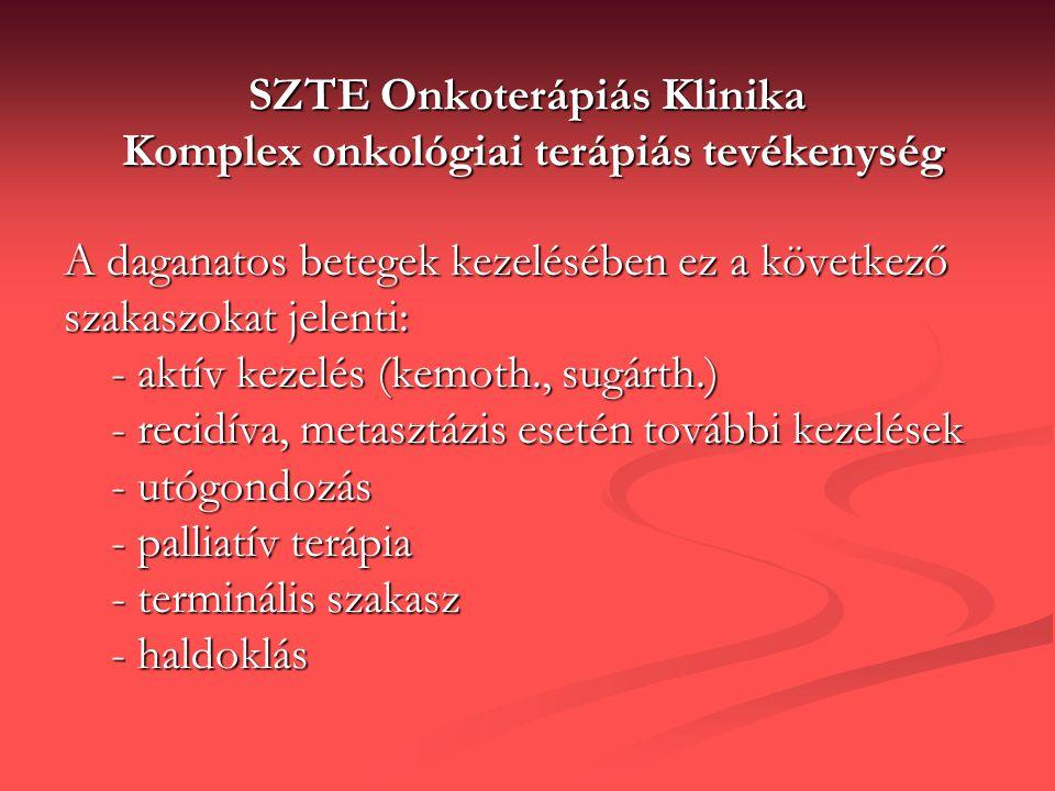 SZTE Onkoterápiás Klinika Komplex onkológiai terápiás tevékenység A daganatos betegek kezelésében ez a következő szakaszokat jelenti: - aktív kezelés