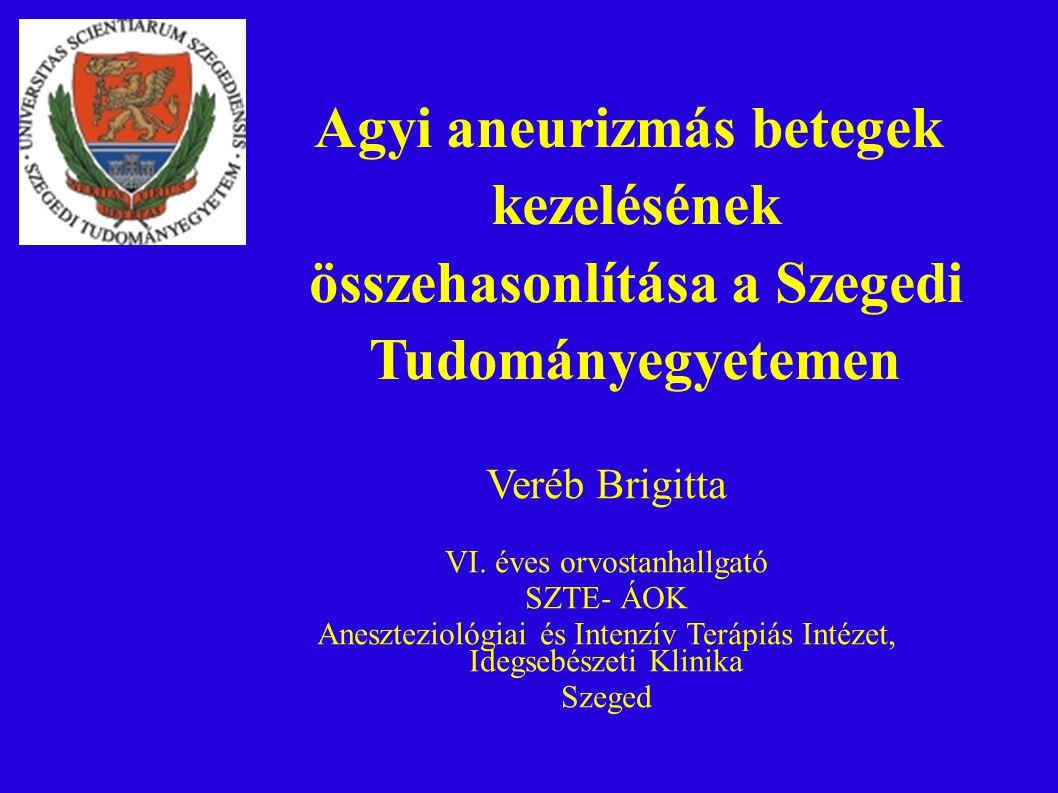 Veréb Brigitta VI. éves orvostanhallgató SZTE- ÁOK Aneszteziológiai és Intenzív Terápiás Intézet, Idegsebészeti Klinika Szeged Agyi aneurizmás betegek