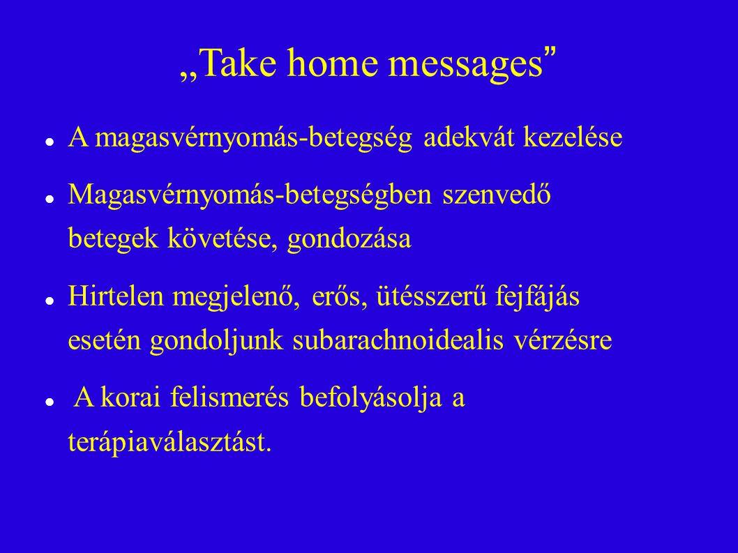 """""""Take home messages A magasvérnyomás-betegség adekvát kezelése Magasvérnyomás-betegségben szenvedő betegek követése, gondozása Hirtelen megjelenő, erős, ütésszerű fejfájás esetén gondoljunk subarachnoidealis vérzésre A korai felismerés befolyásolja a terápiaválasztást."""