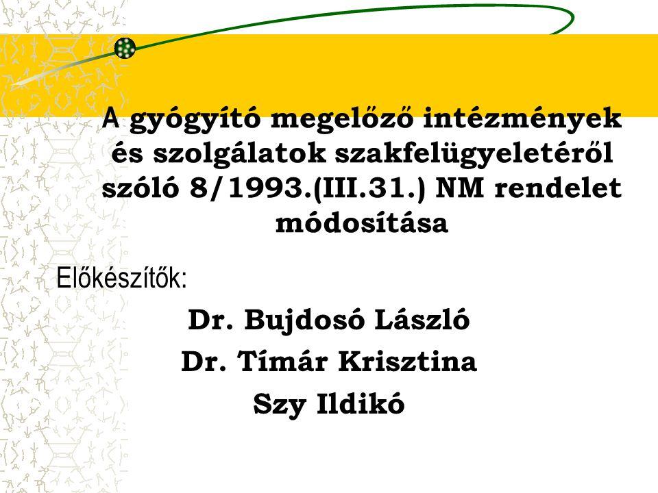 A gyógyító megelőző intézmények és szolgálatok szakfelügyeletéről szóló 8/1993.(III.31.) NM rendelet módosítása Előkészítők: Dr. Bujdosó László Dr. Tí