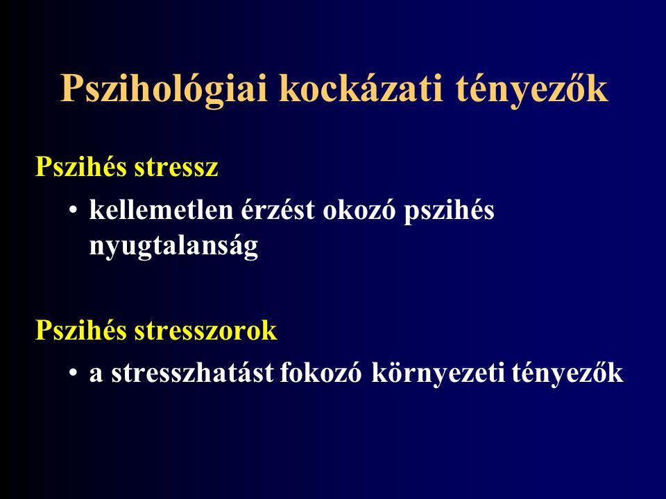 Pszihés stressz kellemetlen érzést okozó pszihés nyugtalanság Pszihés stresszorok a stresszhatást fokozó környezeti tényezők