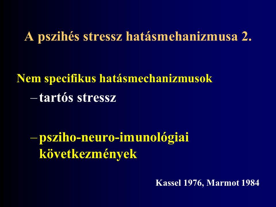 Nem specifikus hatásmechanizmusok –tartós stressz –psziho-neuro-imunológiai következmények Kassel 1976, Marmot 1984 A pszihés stressz hatásmehanizmusa 2.