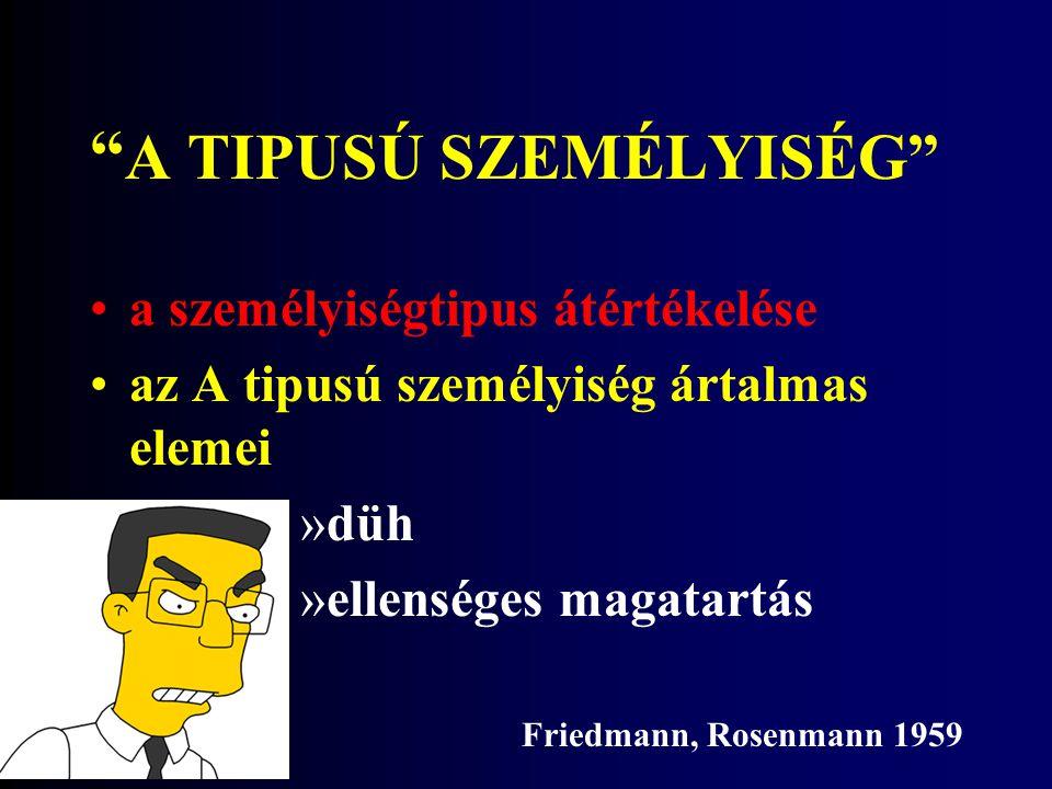 A TIPUSÚ SZEMÉLYISÉG a személyiségtipus átértékelése az A tipusú személyiség ártalmas elemei »düh »ellenséges magatartás Friedmann, Rosenmann 1959