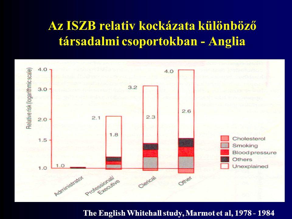 Az ISZB relativ kockázata különböző társadalmi csoportokban - Anglia The English Whitehall study, Marmot et al, 1978 - 1984