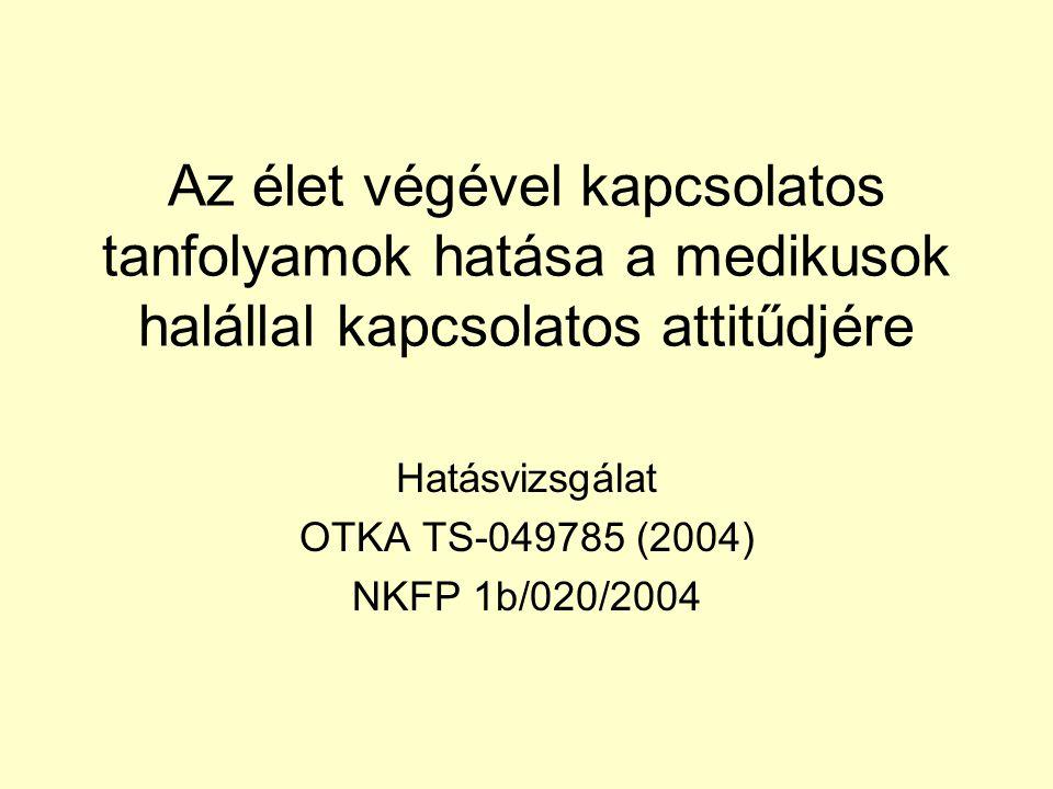 Az élet végével kapcsolatos tanfolyamok hatása a medikusok halállal kapcsolatos attitűdjére Hatásvizsgálat OTKA TS-049785 (2004) NKFP 1b/020/2004