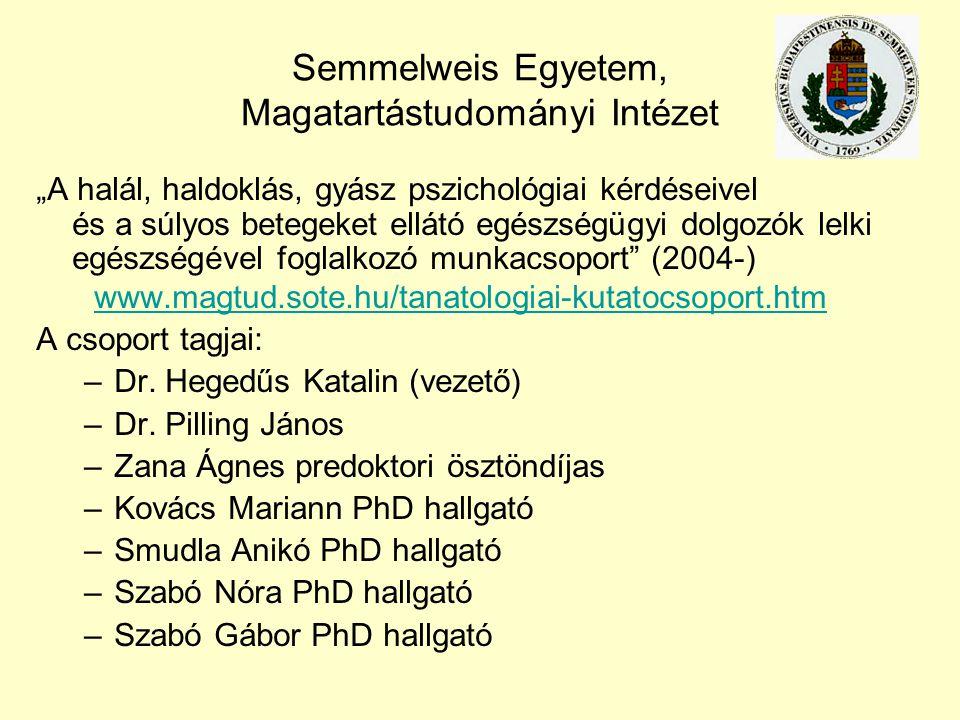 """Semmelweis Egyetem, Magatartástudományi Intézet """"A halál, haldoklás, gyász pszichológiai kérdéseivel és a súlyos betegeket ellátó egészségügyi dolgozó"""
