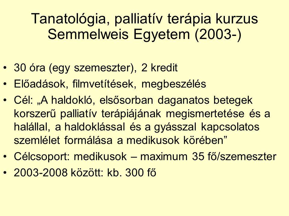 """Tanatológia, palliatív terápia kurzus Semmelweis Egyetem (2003-) 30 óra (egy szemeszter), 2 kredit Előadások, filmvetítések, megbeszélés Cél: """"A haldokló, elsősorban daganatos betegek korszerű palliatív terápiájának megismertetése és a halállal, a haldoklással és a gyásszal kapcsolatos szemlélet formálása a medikusok körében Célcsoport: medikusok – maximum 35 fő/szemeszter 2003-2008 között: kb."""