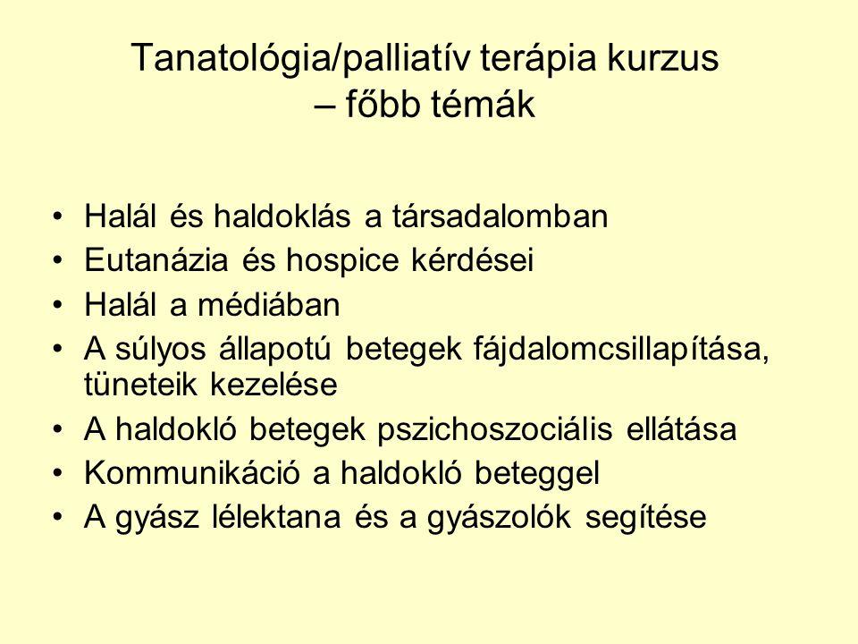 Tanatológia/palliatív terápia kurzus – főbb témák Halál és haldoklás a társadalomban Eutanázia és hospice kérdései Halál a médiában A súlyos állapotú