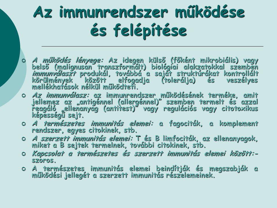 Az immunrendszer működése és felépítése  A működés lényege: Az idegen külső (főként mikrobiális) vagy belső (malignusan transzformált) biológiai alak