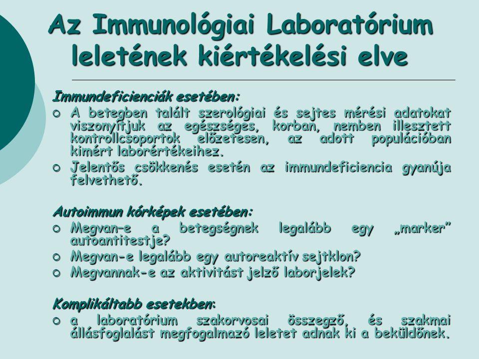 Az Immunológiai Laboratórium leletének kiértékelési elve Immundeficienciák esetében:  A betegben talált szerológiai és sejtes mérési adatokat viszony