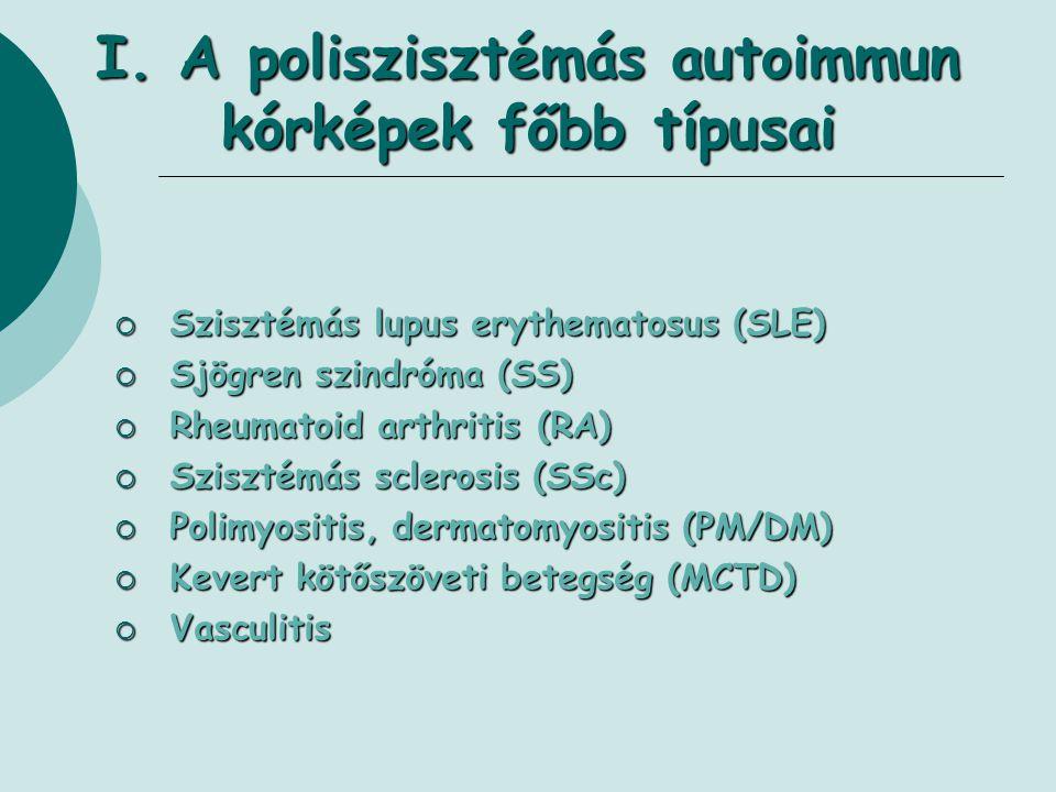 I. A poliszisztémás autoimmun kórképek főbb típusai  Szisztémás lupus erythematosus (SLE)  Sjögren szindróma (SS)  Rheumatoid arthritis (RA)  Szis