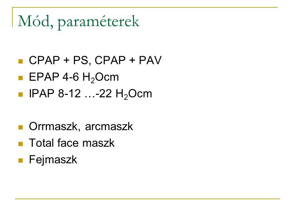 Mód, paraméterek CPAP + PS, CPAP + PAV EPAP 4-6 H 2 Ocm IPAP 8-12 …-22 H 2 Ocm Orrmaszk, arcmaszk Total face maszk Fejmaszk