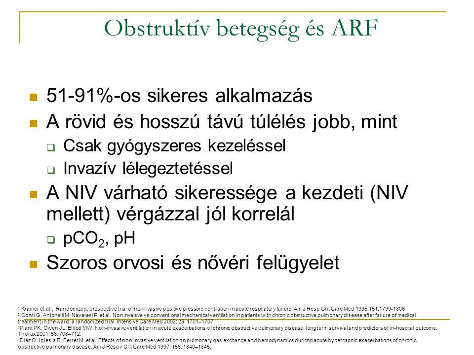 Obstruktív betegség és ARF 51-91%-os sikeres alkalmazás A rövid és hosszú távú túlélés jobb, mint  Csak gyógyszeres kezeléssel  Invazív lélegeztetéssel A NIV várható sikeressége a kezdeti (NIV mellett) vérgázzal jól korrelál  pCO 2, pH Szoros orvosi és nővéri felügyelet 1 Kramer et all,, Randomized, prospective trial of noninvasive positive pressure ventilation in acute respiratory failure.