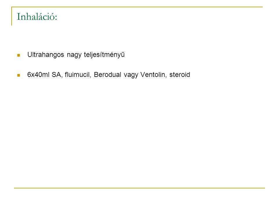 Inhaláció: Ultrahangos nagy teljesítményű 6x40ml SA, fluimucil, Berodual vagy Ventolin, steroid