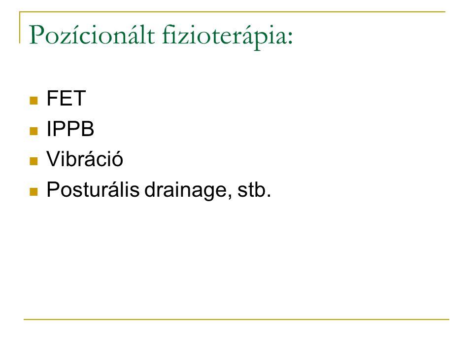 Pozícionált fizioterápia: FET IPPB Vibráció Posturális drainage, stb.