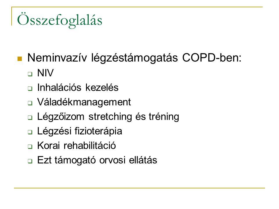 Összefoglalás Neminvazív légzéstámogatás COPD-ben:  NIV  Inhalációs kezelés  Váladékmanagement  Légzőizom stretching és tréning  Légzési fizioterápia  Korai rehabilitáció  Ezt támogató orvosi ellátás